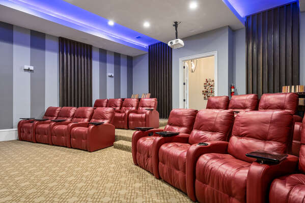 Pop some popcorn and recline in one of the 16 plush chairs for movie time