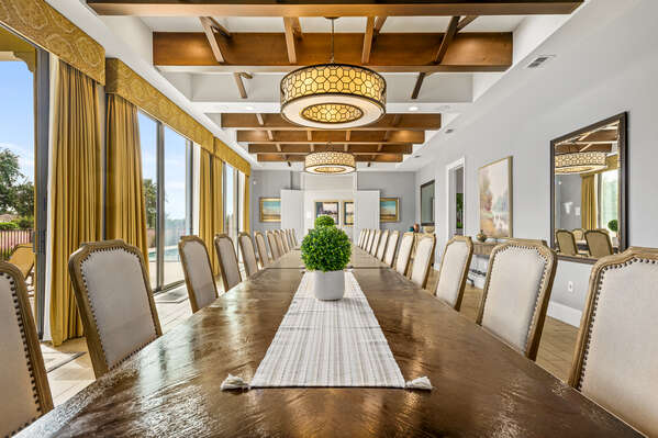 Enjoy meals together as a group at this expansive table