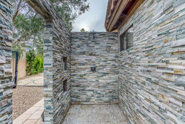 Private Tile Outdoor Shower on the Side of the House Just Added!