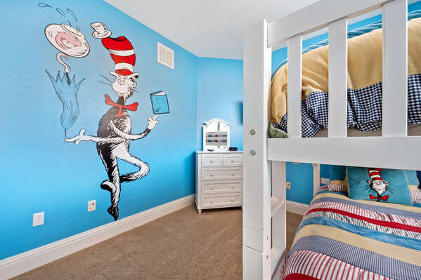 The second floor bedroom features a theme the kids will love