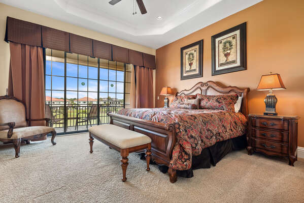 Spacious master bedroom with a King sized bed