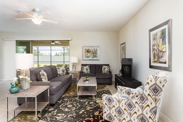 Large living area to gather around and watch your favorite shows