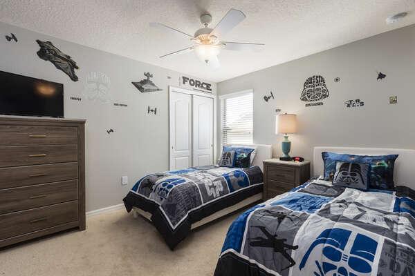Custom kids bedroom with 2 twin beds