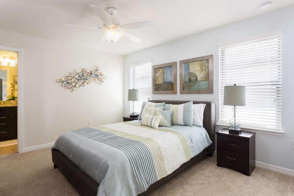 A queen bedroom located on the second floor