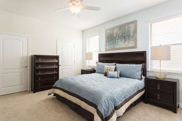 Sleep comfortably in this master suite with a king size bed