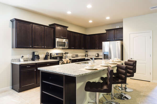 A fully equipped kitchen to prepare delicious meals