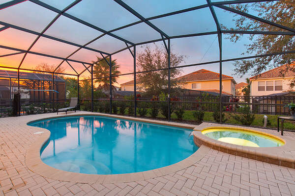 Enjoy the Florida sunrise and sunsets by your private pool
