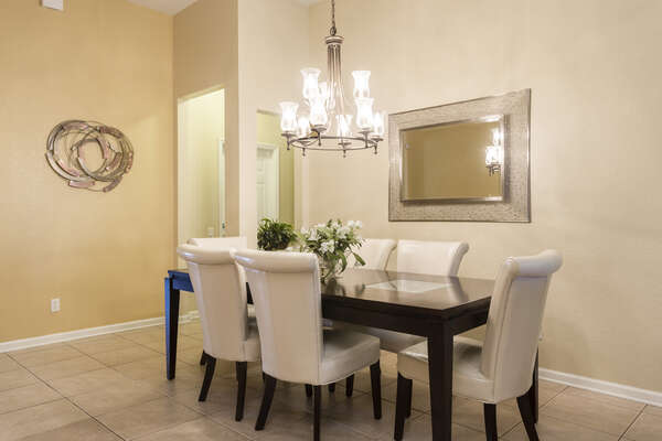 Enjoy a delicious meal in the formal dining table