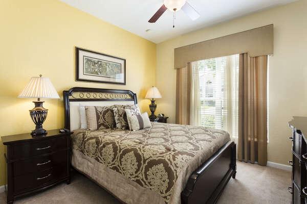 Sleep comfortably in this queen bedroom