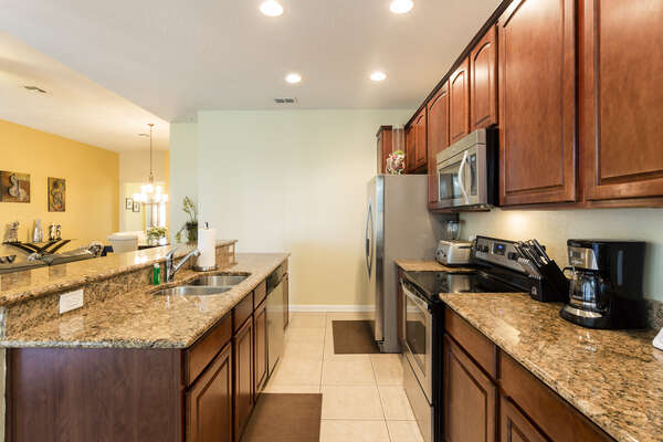 You can cook delicious meals in the fully equipped kitchen