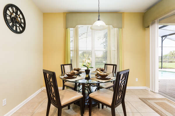 A breakfast nook with seating for 4
