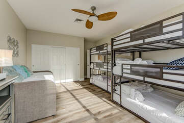 Bedroom 5 - Triple Twin Bunk Beds, Triple Full Bunk Beds, and a Twin Daybed with a Twin Trundle - Great Kids Room!