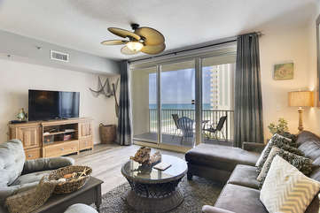 Living room with gorgeous westward view of the Gulf