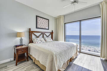 King bed overlooking the Gulf