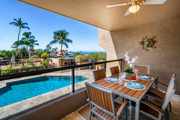 Spacious lanai with pool and ocean views