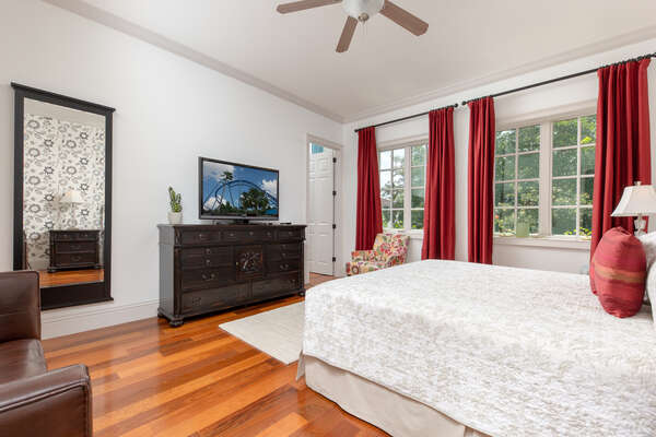 Beautiful hardwood floors and bright design accents