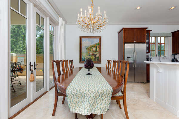 Enjoy family meals together at the table with seating for 6