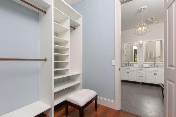 Ensuite master bathroom with spacious closet