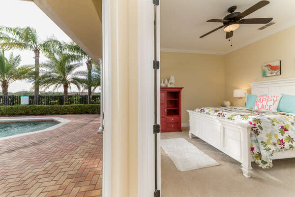 Access the pool deck from the queen bedroom