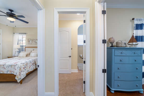 The two bedrooms share a bathroom
