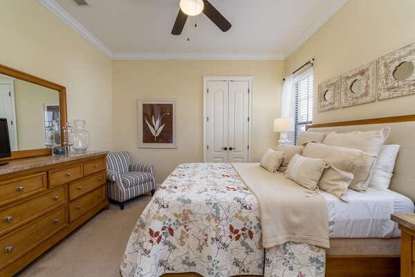 Queen bedroom featuring beautiful details