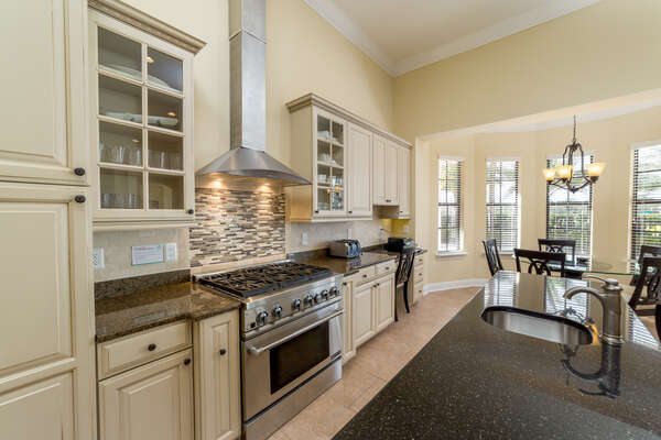 With stainless steel appliances and granite countertops, this upgraded kitchen is perfect for meal prep