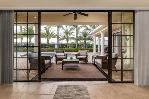 The doors open up to the large patio area for more space to enjoy family time