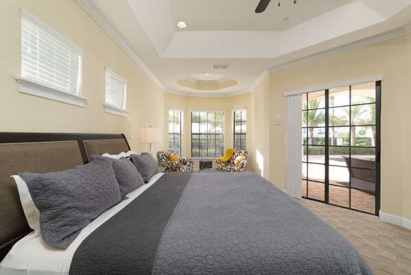 The master suite features a king bed and beautiful views