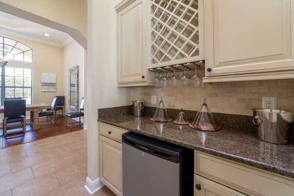 There is even a wet bar with a wine rack for preparing beverages