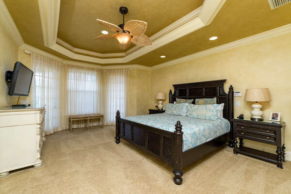 The King master suite on the second floor is a spacious and relaxing getaway
