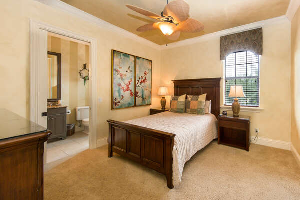 This bedroom shares a Jack and Jill bathroom with the King bedroom