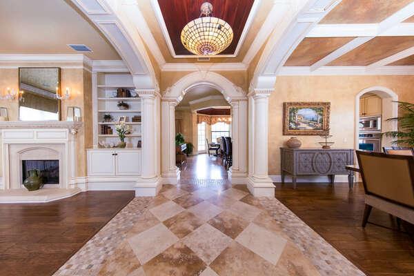 Spacious open floor plan features gorgeous details