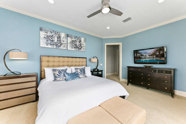 The King master suite is spacious and the perfect place to retreat on vacation