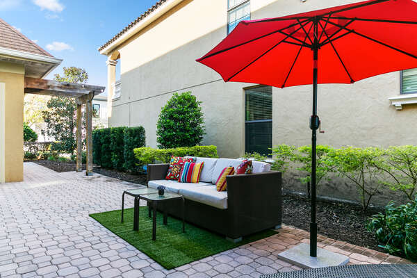 Relax on comfortable patio furniture