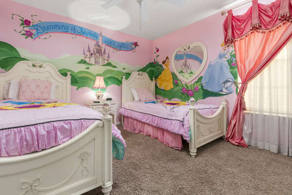 The perfect room for the princesses to rest in after a day at the parks