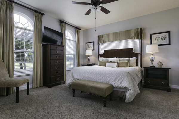 After a long day retire in comfort in this downstairs king bedroom