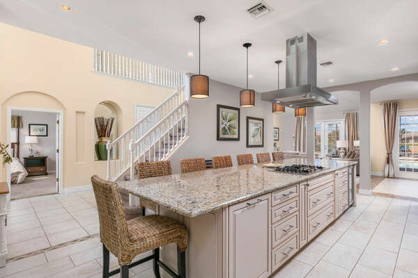 Fully equipped, the kitchen has everythignyou need to entertain guests and more