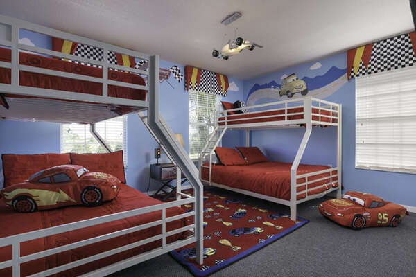 Give the kids their own themed bedroom with two bunk beds and watch their faces light up with excitement
