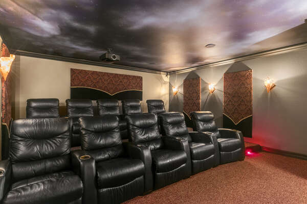 Plush recliner chairs provide a comfortable movie experience