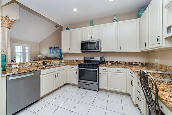 Lots of room in this kitchen to move around makes serving a group easier