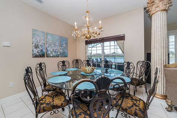 Enjoy a fancy dinner on this beautiful dining table for the whole family