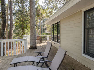 Expansive open deck on back of home