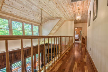 Custom woodwork everywhere you go!  The view from the upstairs hallway is breathtaking!