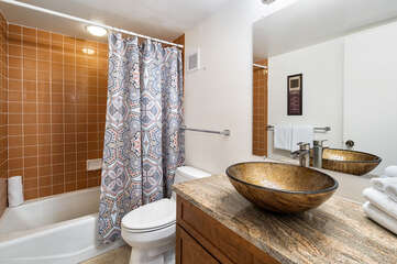 Bathroom with Vessel Sink and Shower-Tub Combo