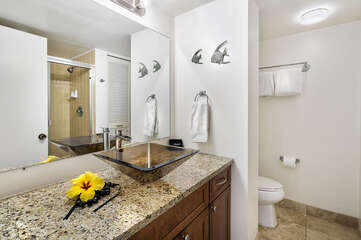 Bathroom with Vessel Sink and Shower