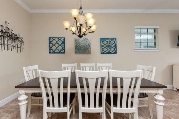 Sit down to eat together at the formal dining table with seating for 8