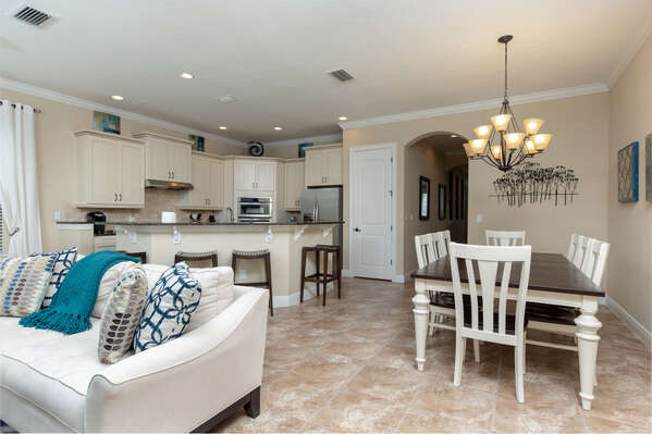 Open area includes the living room, dining room and kitchen