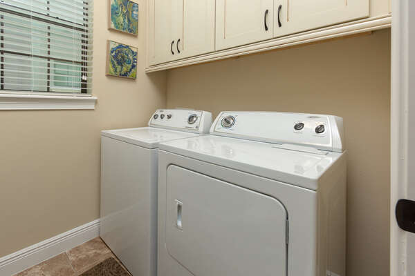 The home is equipped with a washer and dryer for your use