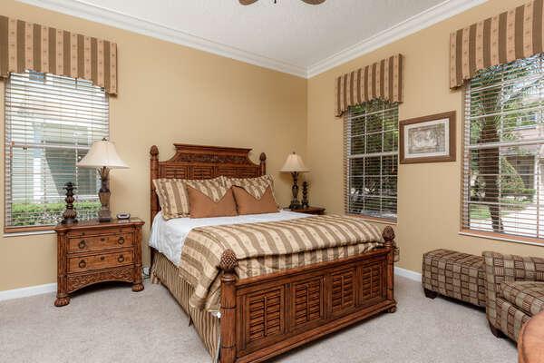 Comfortable queen bedroom located on the first floor