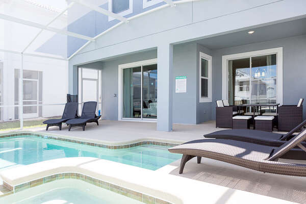 The pool and spa are perfect ways to enjoy family time outside